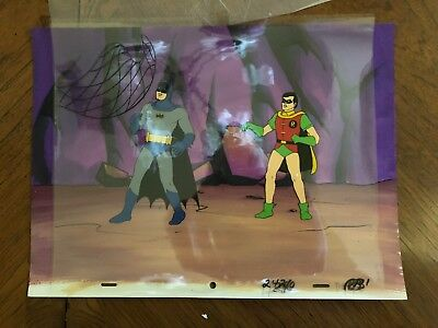 Super Friends Batman and Robin Original Animation Cel with Painted Background.