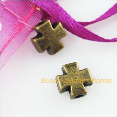 10 New Tiny Smooth Cross Charms Antiqued Bronze Tone Spacer Beads 8mm