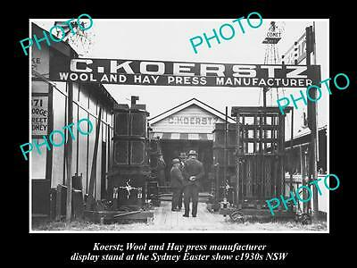 OLD LARGE HISTORIC PHOTO OF KOERSTZ WOOL & HAY PRESS SYDNEY SHOW STAND c1930s
