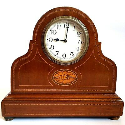 Antique Edwardian Marquetry Conch Shell Mantle Clock