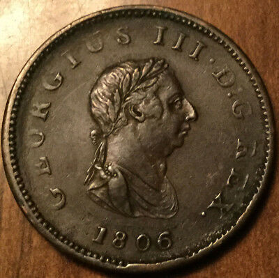 1806 UNITED KINGDOM HALF PENNY - Excellent example !
