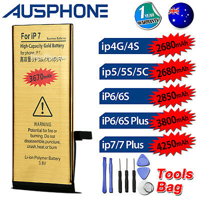 NEW High Capacity Battery Replacement for Apple iPhone 4S 5S 5C 6 6S 7 PLUS AU