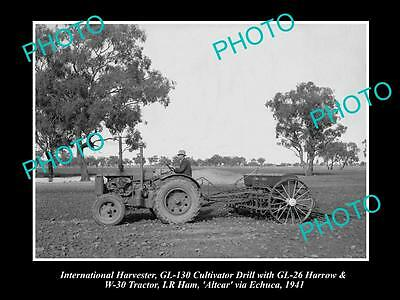 Old Historic Photo Of International Harvester Gl-130 Cultivator, W-30 Tractor