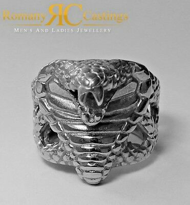 925 Sterling Silver Cobra Snake Head Ring Platinum Dipped Fully Stamped 20.5g