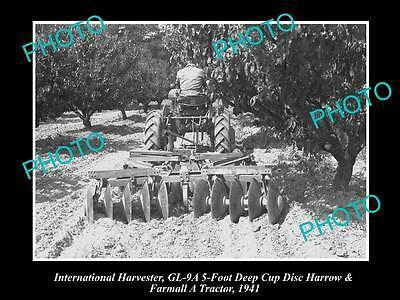 Old Historic Photo Of International Harvester & Farmall A Tractor Gl-9A Harrow