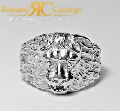 Solid Sterling STAMPED 925 Silver Large Lion Head Ring Platinum Dipped 13 grams