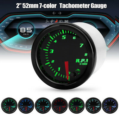 Universal 2'' 52mm 7 Color LED Car RPM Tacho Tachometer Gauge Meter Pointer 12V