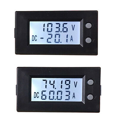 LCD DC +/- 50A 7-150V Bidirectional Current Voltage Meter Battery Monitor alarm