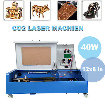 40W CO2 Laser Engraving Cutting Machine Engraver Cutter USB Port 12x8inch Wheels