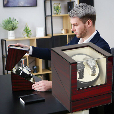 Watches Winder Display Box Automatic Rotation Storage 2 Grid Wooden Cases Luxury