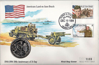 1994 D-Day 50th Anniv - 'Juno Beach' Coin Cover from Turks & Caicos Islands