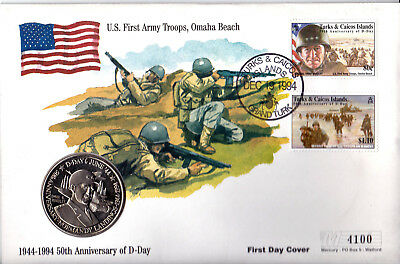 1994 D-Day 50th Anniv - 'Omaha Beach' Coin Cover from Turks & Caicos Islands