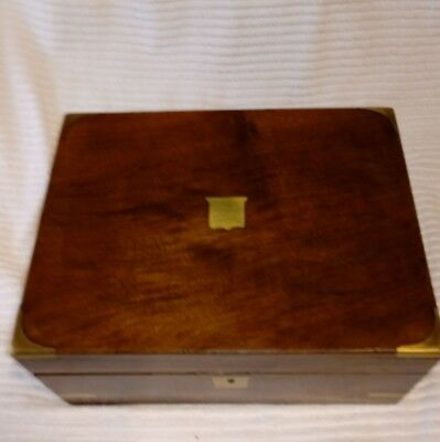 Antique Victorian Walnut Writing Box Slope w/ Brass Hardware Secretary