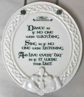 """Irish Blessing Wall Plaque Ceramic Oval Claddagh Celtic Cross Russ Berrie 5 1/4"""""""