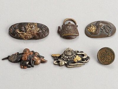 Antique Japanese Mixed Metal fittings for Tobacco Pouch, Menuki Flower Shishi