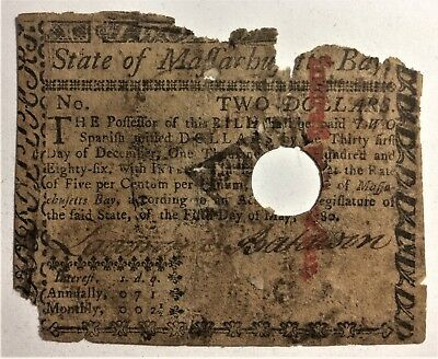 MASSACHUSETTS TWO DOLLAR ($2) FAMOUS SOLDIER LOAMMI BALDWIN SIGNED NOTE of 1780