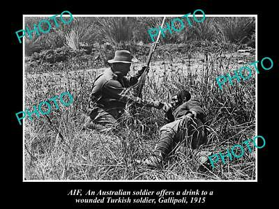 Old Large Historic Photo Of Anzac Soldier At Gallipoli With Turkish Soldier 1915