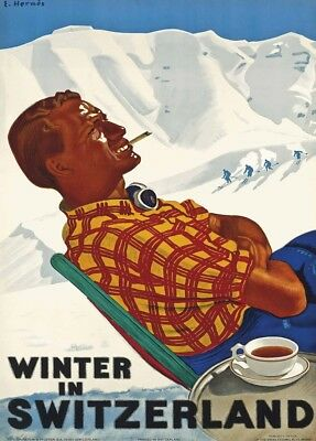 Vintage Ski Posters WINTER IN SWITZERLAND, 1938, Swiss Art Deco Travel Print