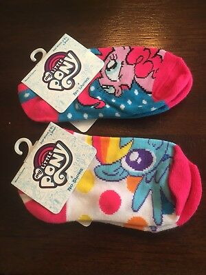 My Little Pony No Show Socks 2 Pair Shoe Size 4-8.5 FREE SHIP!