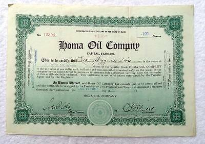 1919 Homa Oil Company Stock Certificate Maine #8Y