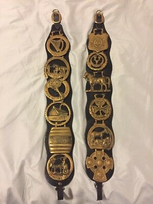 Lot of 12 Guinness Beer & Irish Horse Brasses- Vintage Leather Straps
