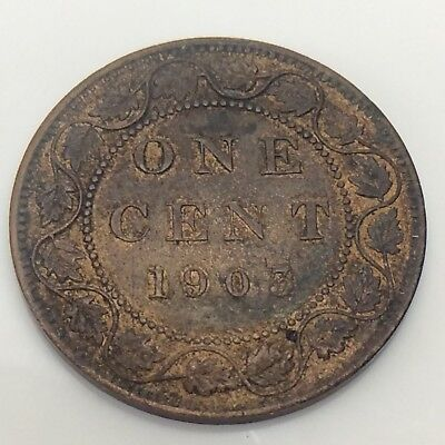 1903 Canada Large One 1 Cent Penny Red Brown Copper Coin F505