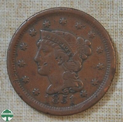 1851 Braided Hair Large Cent - Fine Details