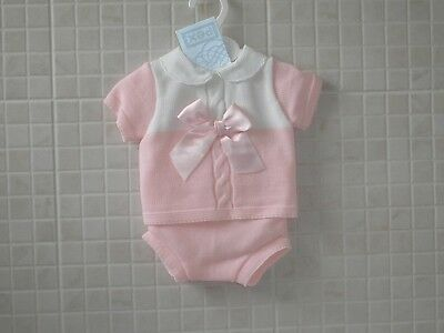 Baby Girls  Knitted Spanish Style 2 piece set Jam pants Pink NB  0-3 3-6 6-9 m