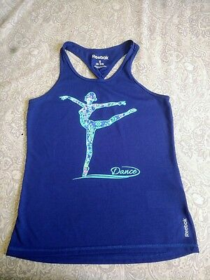 Girls Reebok Dance Tank Top Blue Floral Dancer~Small 8-10