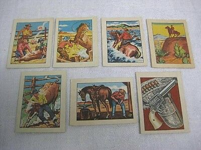 7 Vintage Post Cereal Premiums 1951 Hopalong Cassidy Wild West Trading Cards
