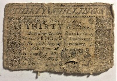 PENNSYLVANIA POSSIBLY SMALL CHANGE 30 S of 1775 LEAF PRINT INVENTED by FRANKLIN