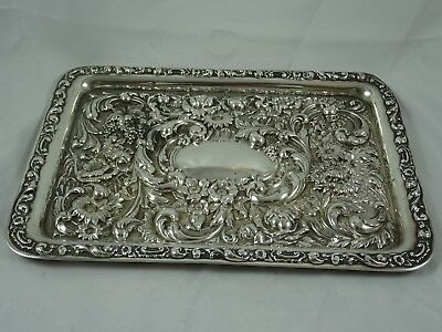PRETTY solid silver DRESSING TABLE TRAY, 1905, 313gm - Chester