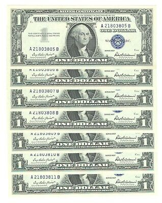 Lot Of Seven 1957 U.s. $1 Silver Certificates - Consecutive Numbers - Unc.