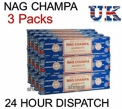 3 Packs Original Satya Sai Baba Nag Champa Incense Sticks  Joss Insence Genuine