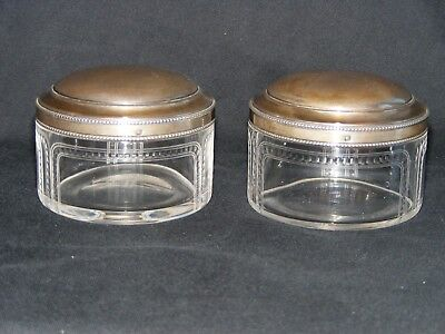 Pair Of Antique French Solid Silver Topped Glass Powder Jars .950 Minerva Head