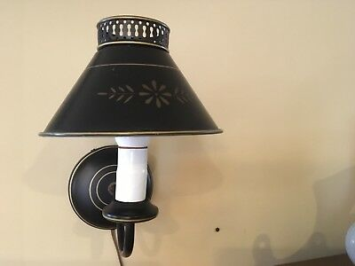 VTG Metal Toleware Black w Gold Stencil Design Plug-In Wall Sconce - EXCELLENT!