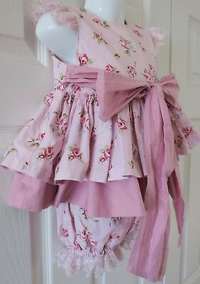 BESPOKE SPANISH ROMANY PINK WITH LACE TRIM DRESS & KNICKERS AGE 2-3y