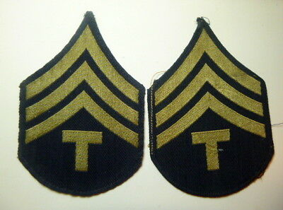 A  Pair of WW 2 U S Army Tech 4th Grade Twill Chevron Patches