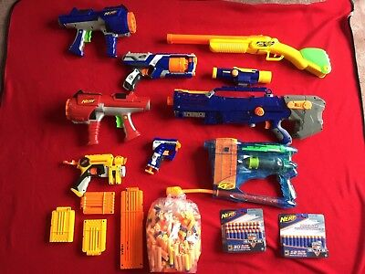 Large Nerf gun lot modified air restrictors Blasters unopened Darts ALL WORKING