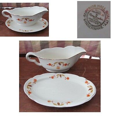 Vintage Hall Autumn Leaf Jewel Tea Small Gravy Dish with Under Tray