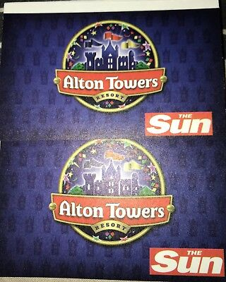 2 X Sun Alton Towers Theme Park Tickets Vouchers 12.6.18 12th June 2018