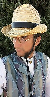 Victorian Men's Straw BOWLER DERBY Top HAT Old time Dandyman deadwood tombstone