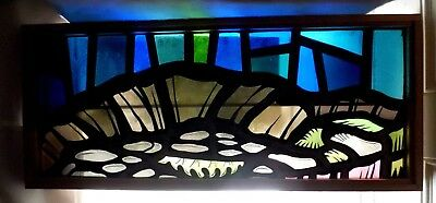 Antique Vtg Church Stained Glass Window Architectural Salvage Modern W82