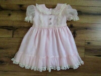 Bryan ~ Vintage Party Dress ~ Pink/White Dotted Swiss ~ Ruffled Lace ~ Size 3T