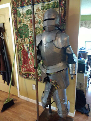 SCA, LARP, reenactor, Jousting, suit of armor with display stand.