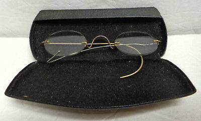Vintage Gold Filled Frame Oval Rimless Spectacles with Case!
