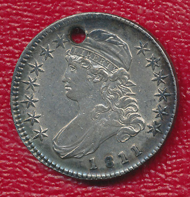 """1811 Large """"8"""" Capped Bust Silver Half Dollar **nice Toning** Free Shipping!"""