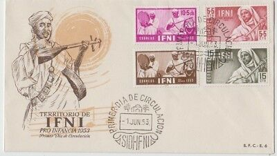 Stamps Ifni Morocco Africa set of 4 musicians on FDC postmarked first day issue