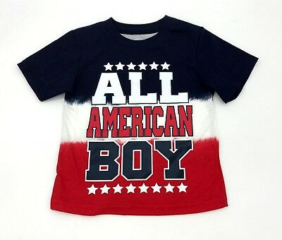 "Toddler Boys Patriot 4th July Shirt T-Shirt ""All American Boy"" Size 2T 3T 4T 5T"