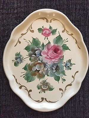 "Vintage Hand Painted Metal Serving Tray Tole Floral On Cream 16&7/8""x14&1/8"""